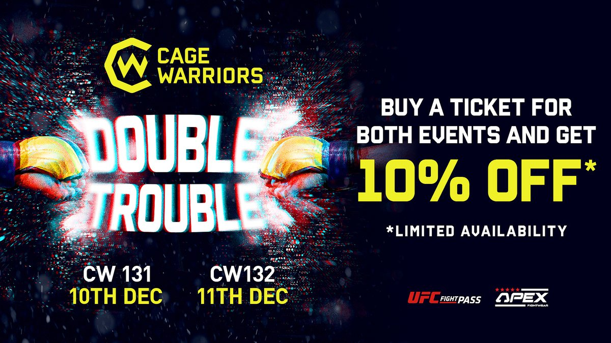 🤔 What's better than one Cage Warriors show? Two Cage Warriors shows!  🎟 Following the link below, you can buy a ticket for both nights of #DoubleTrouble and receive 10% off!*  bit.ly/3nbubVq  #CW131 #CW132   *Limited availability