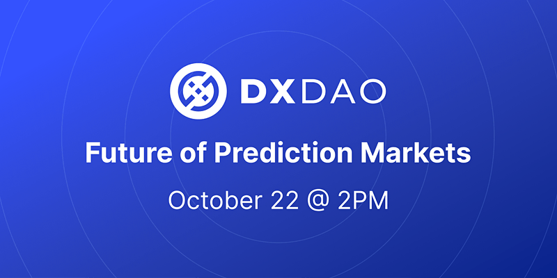 BD!☀️ The 'Future of Prediction Markets' event hosted by @DXdao_ starts in just over 2 hours, featuring @gnosisPM, @Kleros_io and @Omen_eth. Can't make it? Stay tuned to the DXdao Twitter and Discord for live coverage at 2pm WEST. Event details⬇️ eventbrite.com/e/dxdao-future…