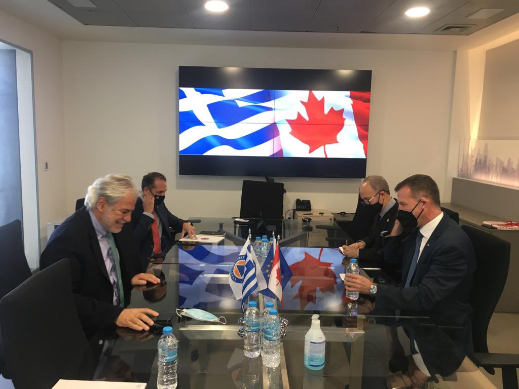 A very constructive meeting today with #Canada Ambassador Mark Allen @MAllenDiplomat Strengthening bilateral cooperation & confirming excellent 🇬🇷🤝🇨🇦 relations with a special focus on know-how exchange Tackling #climatecrisis is a common goal. @CanadaGreece @GreeceInCanada