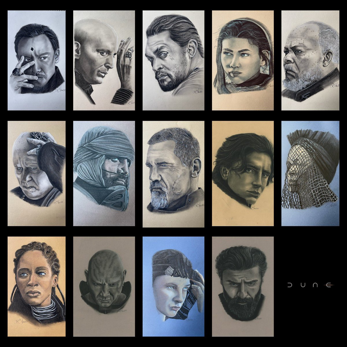 Finally! @dunemovie is out today's. Here's all the portraits I've drawn, inspired by the original 📷 @jasonbellphoto  #dune #DuneMovie #PaulAtreides #dukeleto #LadyJessica #gurney #DuncanIdaho #lietkynes #baron #dryueh #chani #stilgar #rabban #piterdevries https://t.co/jAfJGRHTr0.