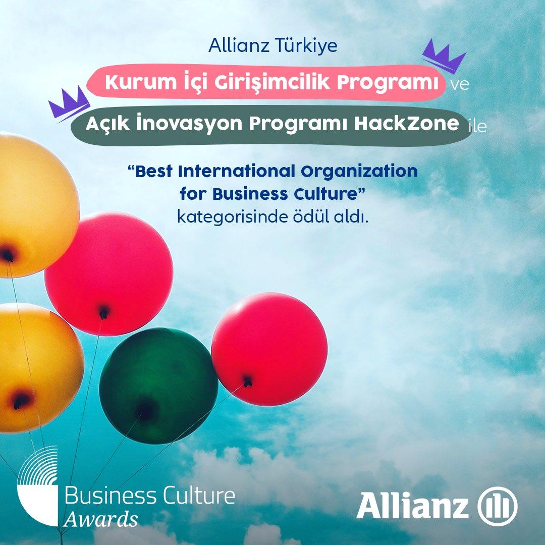 """Allianz Türkiye olarak teknolojik ve inovatif çalışma kültürümüz sonucunda İngiltere merkezli Business Culture Awards'un """"Best International Organisation for Business Culture"""" kategorisinden ödül almanın mutluluğunu yaşıyoruz. Bizi bu ödüle layık gören herkese teşekkür ederiz."""