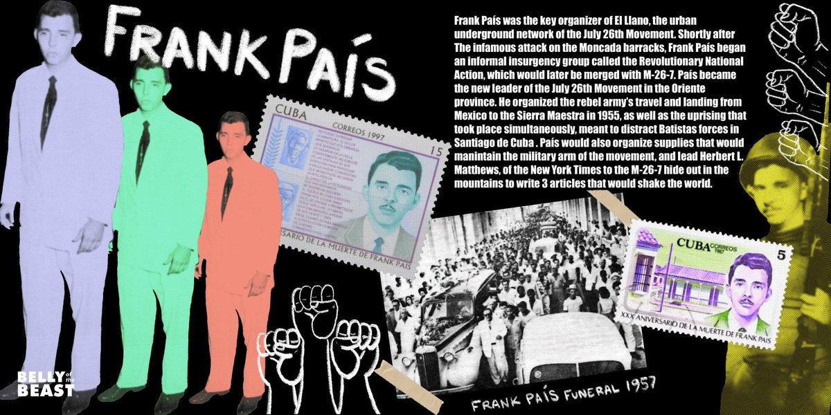 Frank País (December 7, 1934 – July 30, 1957) was Head of Action and Sabotage of the M-26-7, as well as the primary connection between the urban underground and the military arm of the Sierra Maestra. Brought to you by History #FromUnderTheEmpire