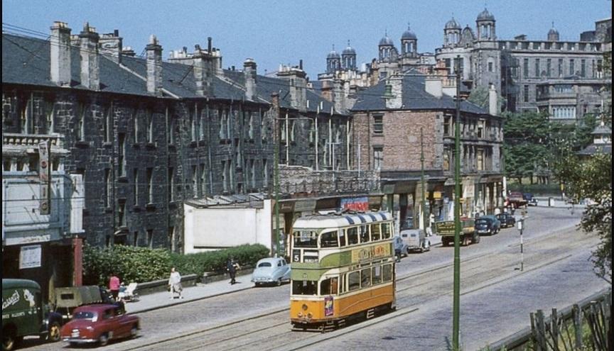Old tweet reprised. Battlefield Road, Victoria Infirmary in background, #Glasgow, 1958. McKechnie Collection