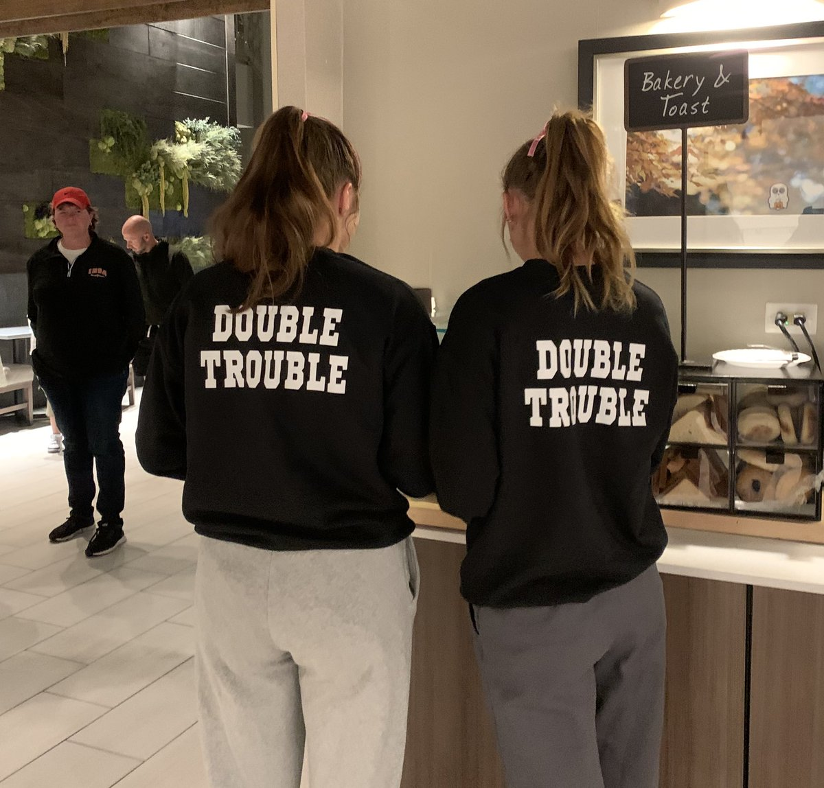 Gearing up for the next round. 2 great athletes! Go get 'em!! #DoubleTrouble