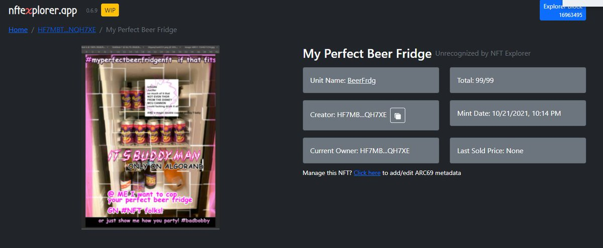 #NFTGIVEAWAY #NFTPARTY - my idea for #theperfectbeerfridge is to invite every single person to make one, mint it, and sell the #nft as cheap as possible and on Friday @ 9:30 PM Central we all drop them and I give away #badbobby 9 #algonft #algo #algorand #letsparty #crypto #eth