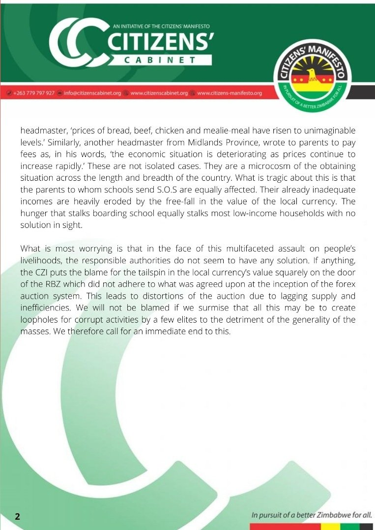 Citizens' Bulletin No. 11/2021 highlets the Fall in RTGS value and its implications on livelihoods. Three years down the line @MthuliNcube has not managed to bring economic stability which was his primary responsibility upon taking office. Citizens continue to ask #HowFar!