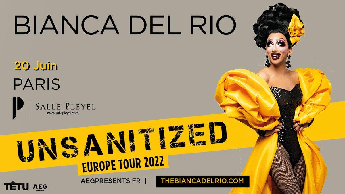 ️[ ANNONCE ]️ BIANCA DEL RIO - LUNDI 20 JUIN 2022  @TheBiancaDelRio nous embarque dans un nouveau show, dans le cadre de son « Unsanatized Comedy » Tour.  PRÉVENTE SALLE PLEYEL : 28/10 - 09h MISE EN V