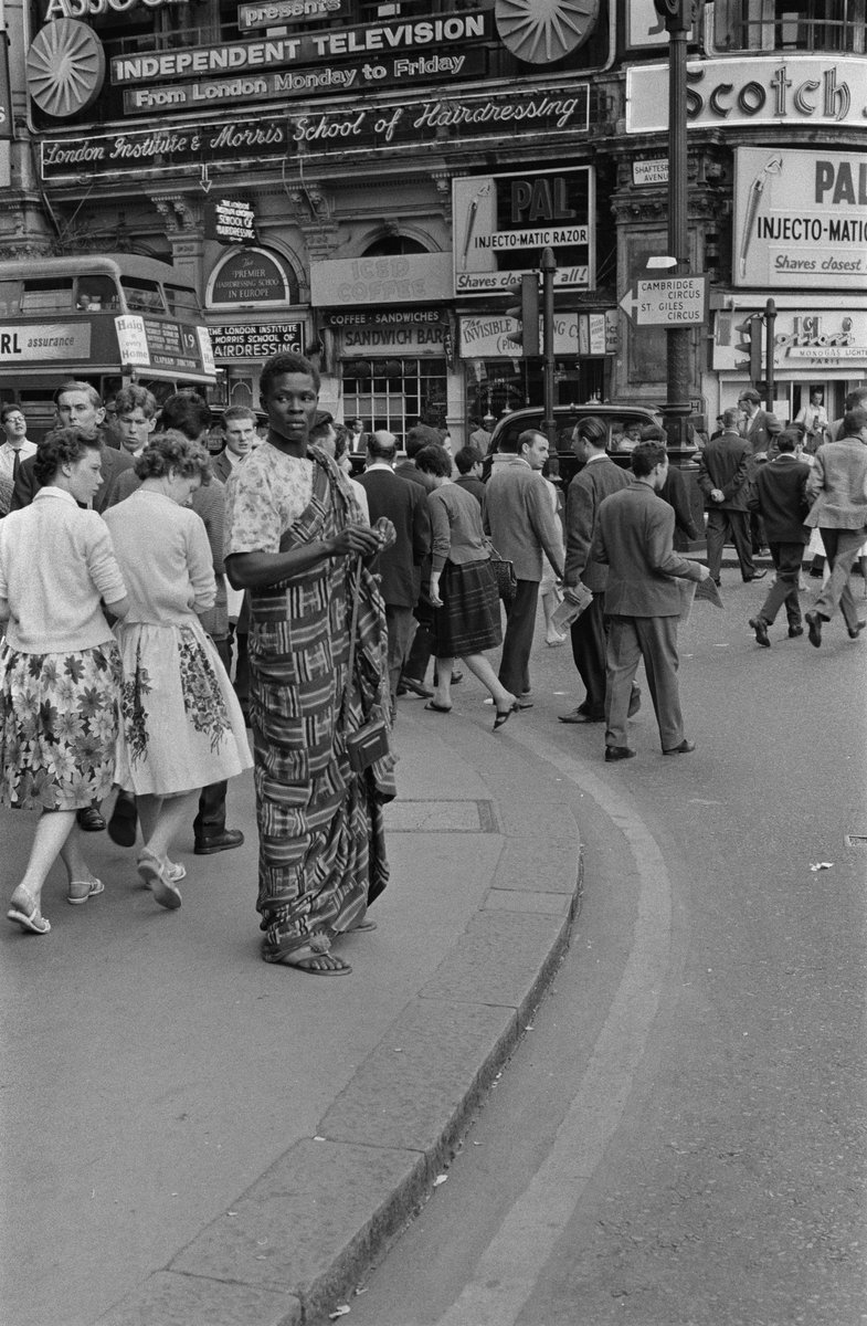 Ghanaian man in Piccadilly Circus , London 1961 . @GettyImages #blackhistoryculturecollection