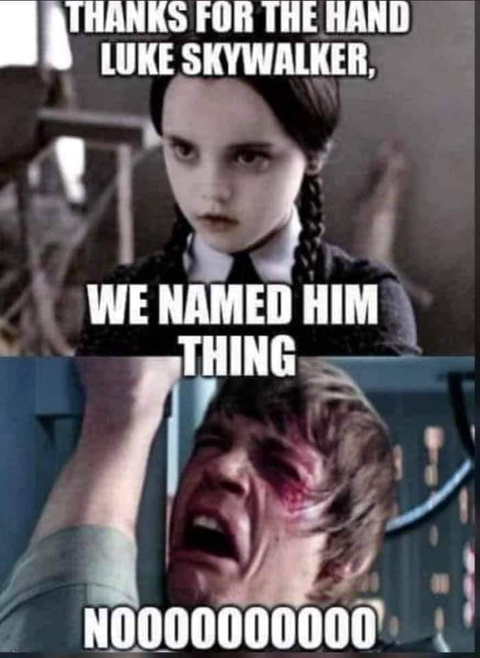Thankfully, Luke never saw what it did with Ash's severed appendage. That really would have killed him. Not that there's anything wrong with that. #addamsfamily #StarWars #FreakyFriday