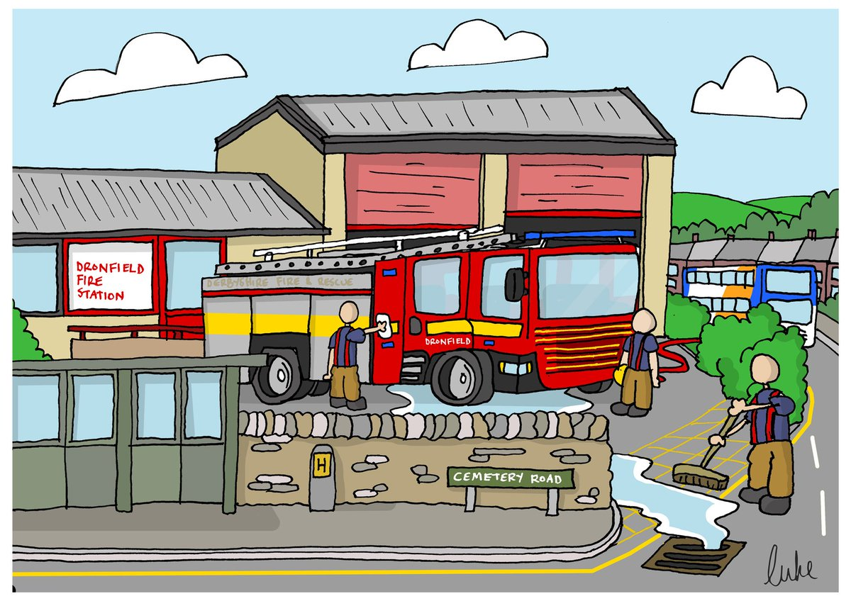 Having recently joined the on call crew Dronfield fire station, I just had to do a little doodle. 🙂🚒