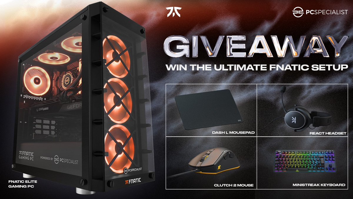 Don't forget to enter the @PCSpecialist giveaway for your chance to win the ultimate Fnatic Gaming setup! Head over to fna.tc/pcs-giveaway to enter, you've got till the 27th!