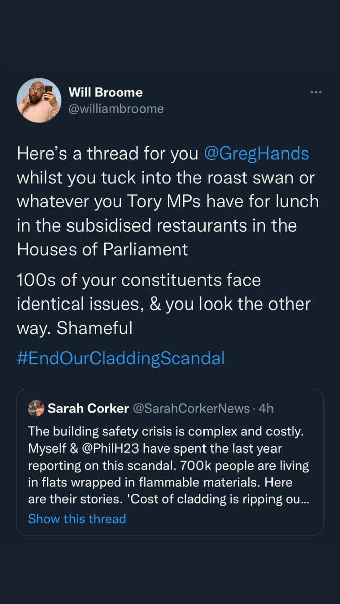 I am legit astonished at how certain MPs can stoop so low. Not only was the referenced tweet cropped to change the narrative & context, but the abuse is non-existent in either context especially when you consider there's genuine abuse towards MPs. Shameful. #EndOurCladdingScandal