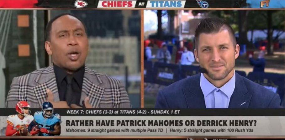 """""""What are you in jail for?"""" """"Killed a man. You?"""" """"Produced a segment of television with Stephen A and Tebow where we suggested taking Derrick Henry over Patrick Mahomes."""" """"Damn son"""""""
