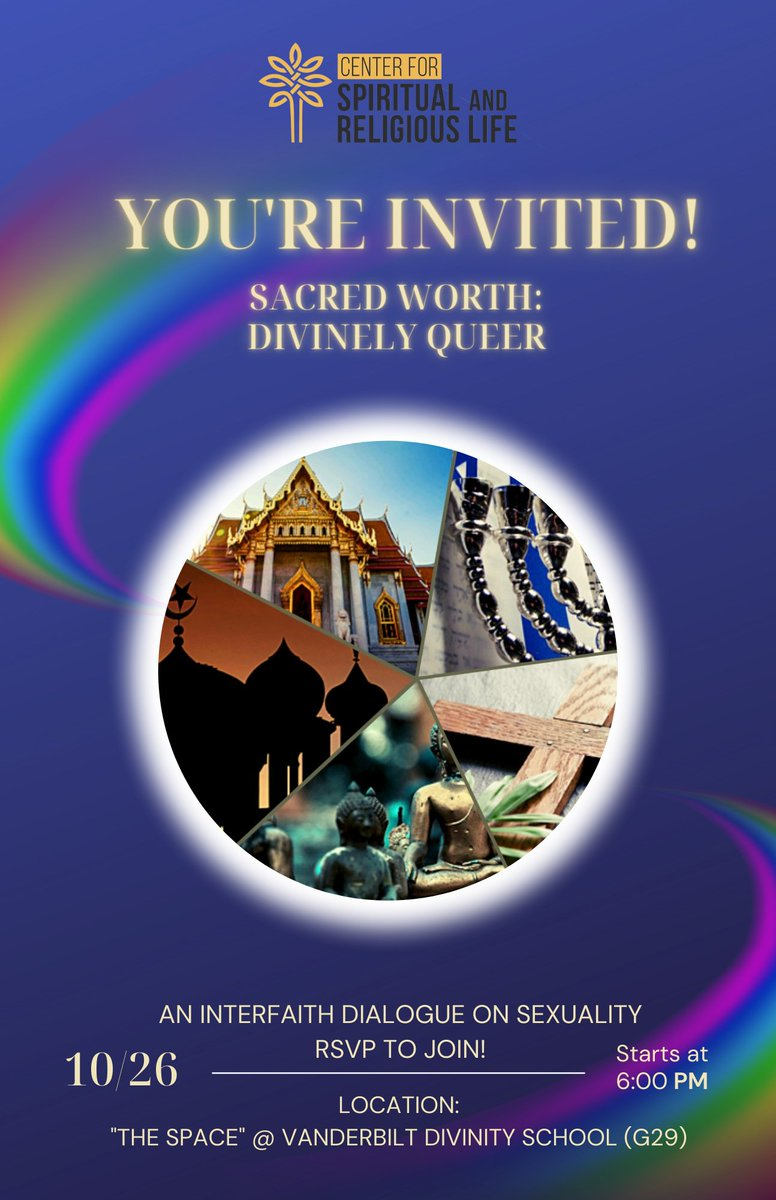 """On Tuesday, Oct. 26, at 6pm, join @VUSpiritualLife for """"Sacred Worth: Divinely Queer"""". The event will take place at """"The Space"""" at Vanderbilt Divinity School (G29). Learn more and register:   #sacredworth #vudivinity #vandy #vandydiv #lgbtqia #nashville"""