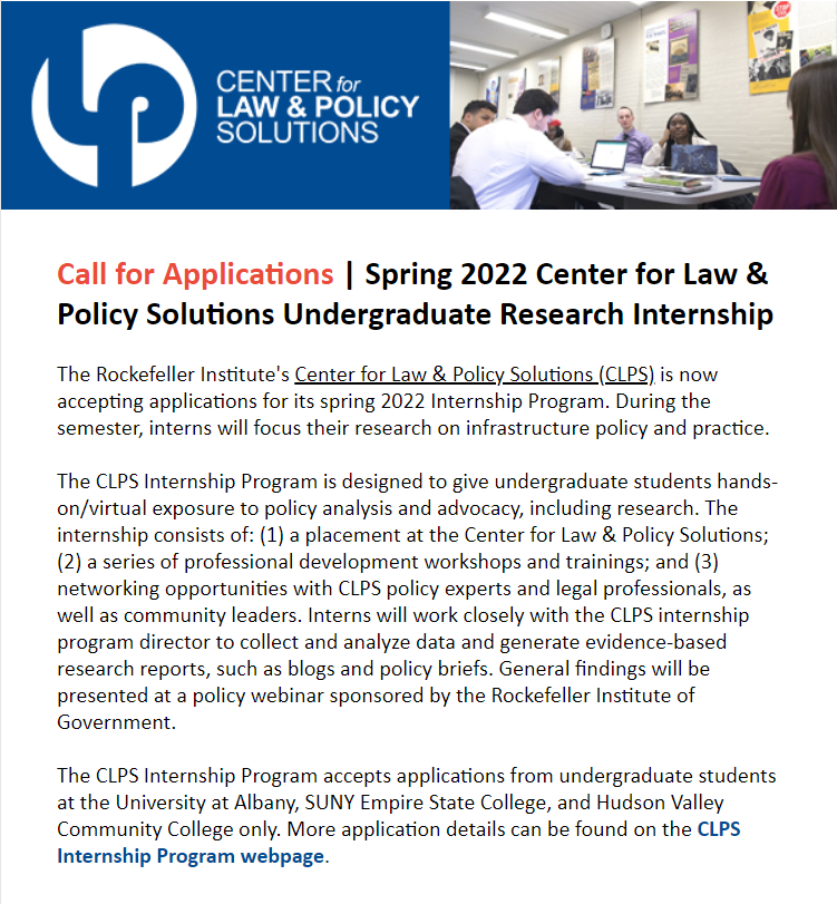 We are now accepting applications from @UAlbany, @HudsonValleyCC, and @SUNYEmpire undergraduate students for our Center for Law & Policy Solutions (CLPS) Internship Program for the spring '22 semester.   Application details ► https://t.co/re7PACyU5K