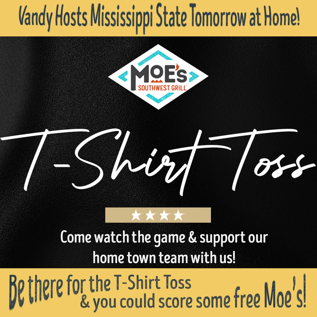 Only thing better than Football season is Football season in TN! Better still is a chance to win free stuff. Come cheer for Vandy w/ us at the Miss State game. The Vanderbilt Athletics Team will toss out some Moe's surprises to at least 25 lucky fans! #vandy #football #commodores