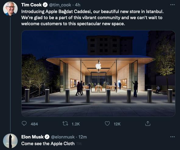 Elon Musk, Tim Cook'un İstanbul'daki Apple Store paylaşımı ile dalga geçti. Elon Musk: 'Gelin Apple parlatma bezini görün.' Apple'in parlatma bezini 19 dolardan satması, ABD'de dalga konusuydu.