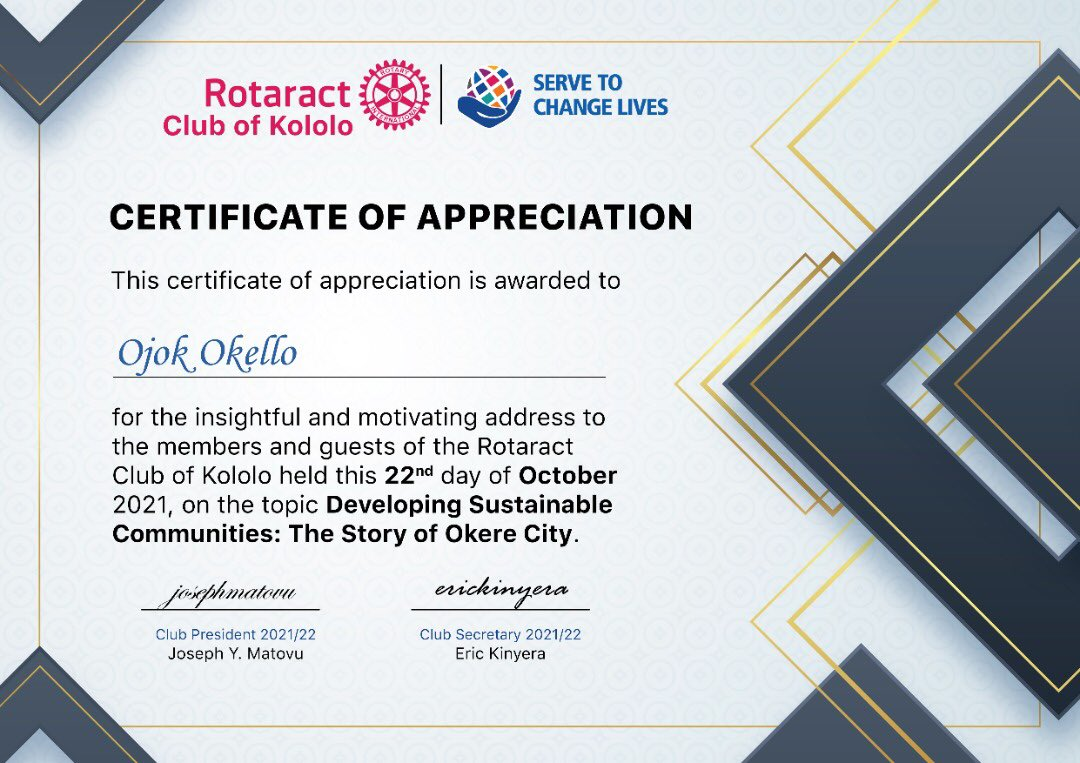 Our heartfelt gratitude to the @rotaractkololo for hosting our CEO, @OjokOkello_ to share insights on building sustainable rural communities.