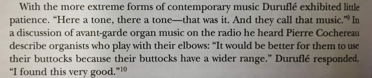The best quote from James Frazier's great biography of Maurice Duruflé. #buttocks