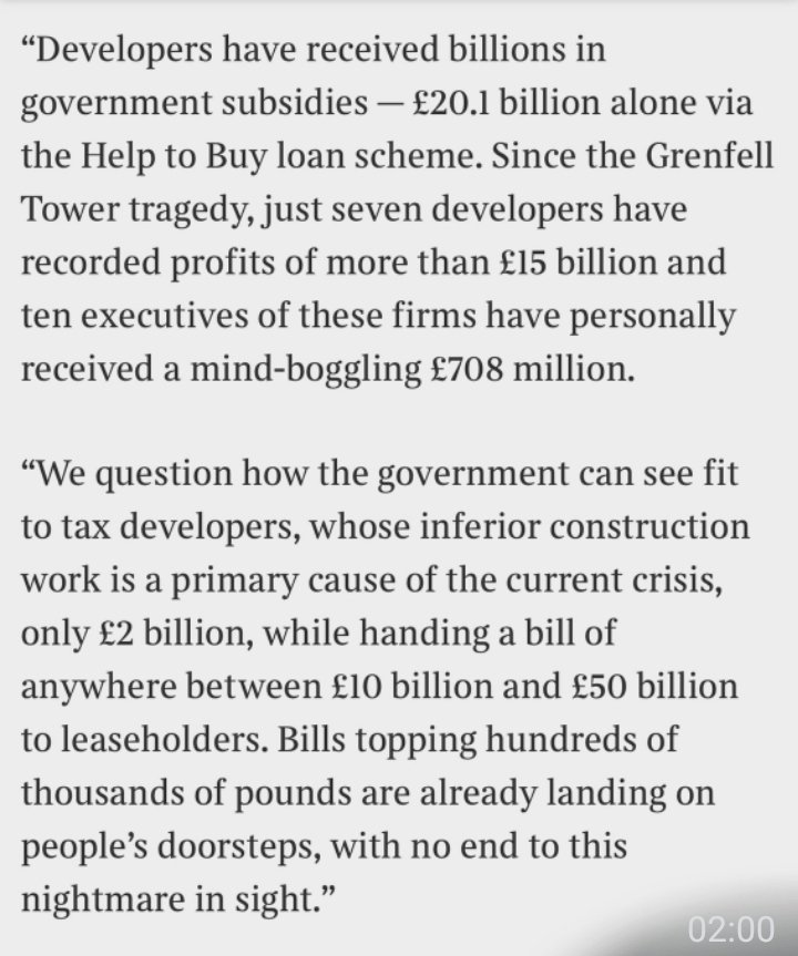 ❌ @RishiSunak's proposed tax on developers will only raise £2bn over 10 years ❌ The same developers have received over £20bn in Govt-backed subsidies @BorisJohnson @michaelgove this won't do. #EndOurCladdingScandal #SpendingReview thetimes.co.uk/article/rishi-…