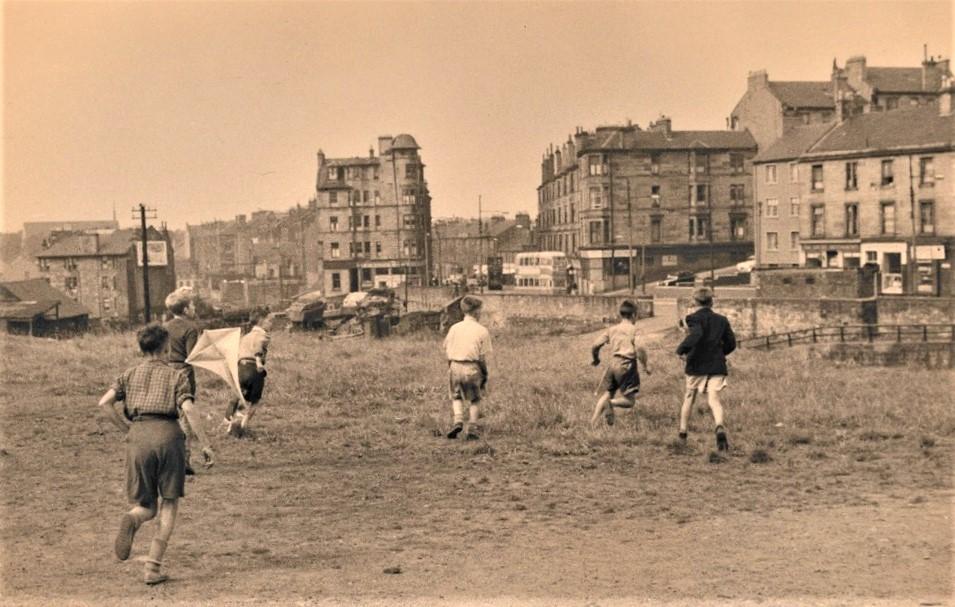 Maryhill boys, Collina Street, Kelvin Dock #shoap on right hand corner by the tram, #Glasgow, 1958. (GCC Libraries)