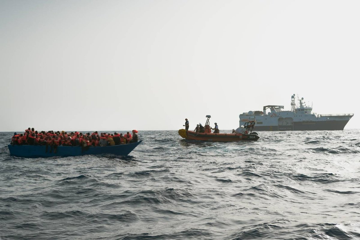 Earlier today, the #GeoBarents conducted the third rescue in less than 24 hours. We reached a wooden boat with 100 people on board that was adrift for hours. Competent authorities were informed but did not intervene for more than 8 hours.  ©Filippo Taddei/MSF