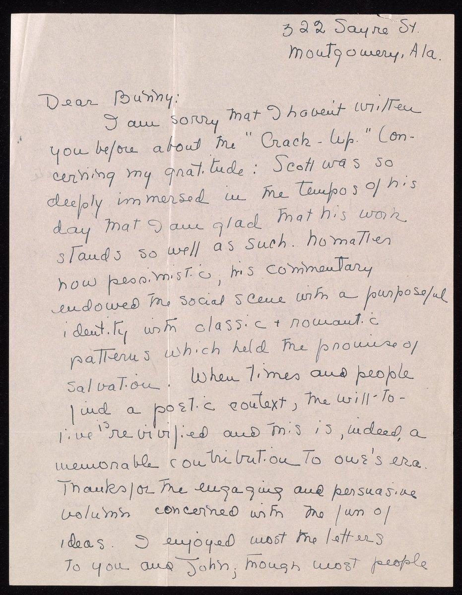 Letter : 1945 October 23, Zelda Fitzgerald to Edmund Wilson From: Edmund Wilson papers https://t.co/gmbVHg4kVA https://t.co/1c0sUs5V9L