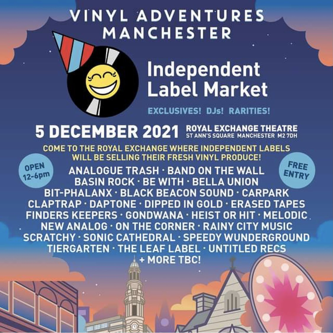 'Vinyl Adventures Record Fair' hosted by @Tim_Burgess is happening on Sunday December 5 and we can't wait 🙌. There'll be stalls, live performances, interviews and talks taking place across the city. Check out this special enamel bade has made for day. Not for sale.......yet 😉