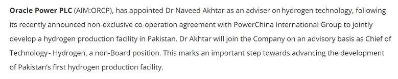 @OraclePowerPlc (AIM #ORCP), has appointed Dr Naveed Akhtar as an adviser onhydrogen technology, following its recently announced non-exclusive co-operation agreement with PowerChina International Group to jointly develop a hydrogen production facility in #Pakistan. https://twitter.com/Share_Talk/status/1451844353052262405