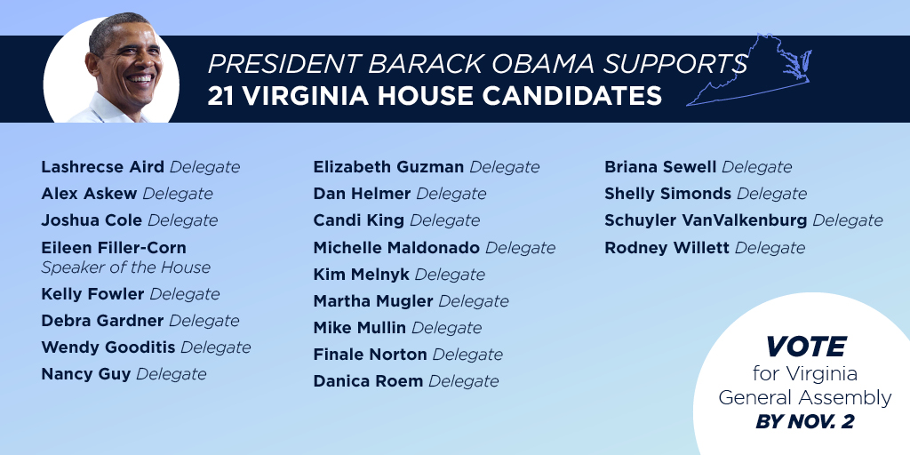 Some of the most important changes often start in state legislatures. That's why I'm proud to support these candidates for the Virginia state legislature. I hope you'll join me and the @DLCC in giving them your vote.