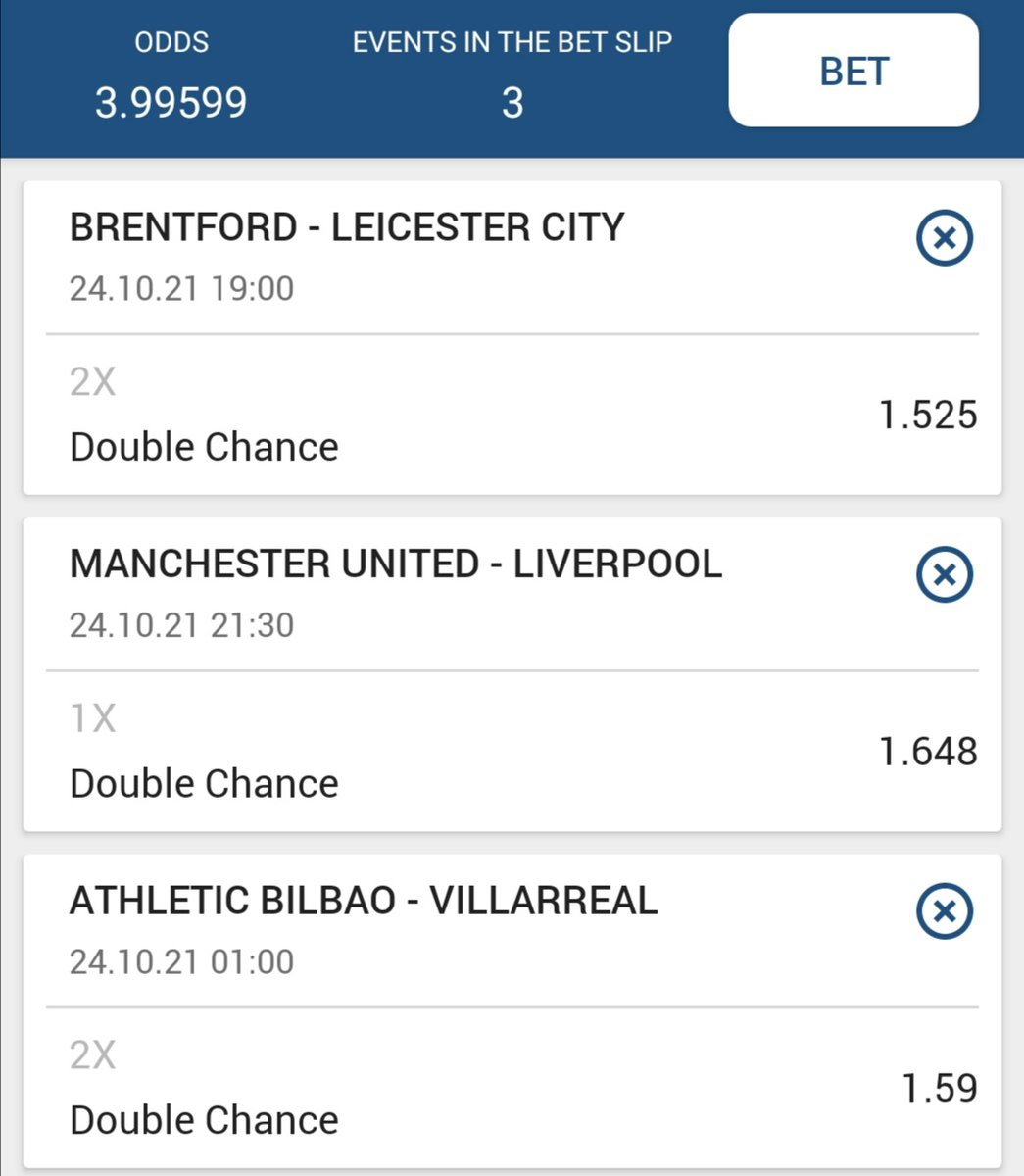 1st one  #Brentford vs #Leicester_city  Leicester City or x  #ManchesterUnited vs #Liverpool   Manu or x  #AthleticoBilbao vs #Villarreal   Villarreal or x