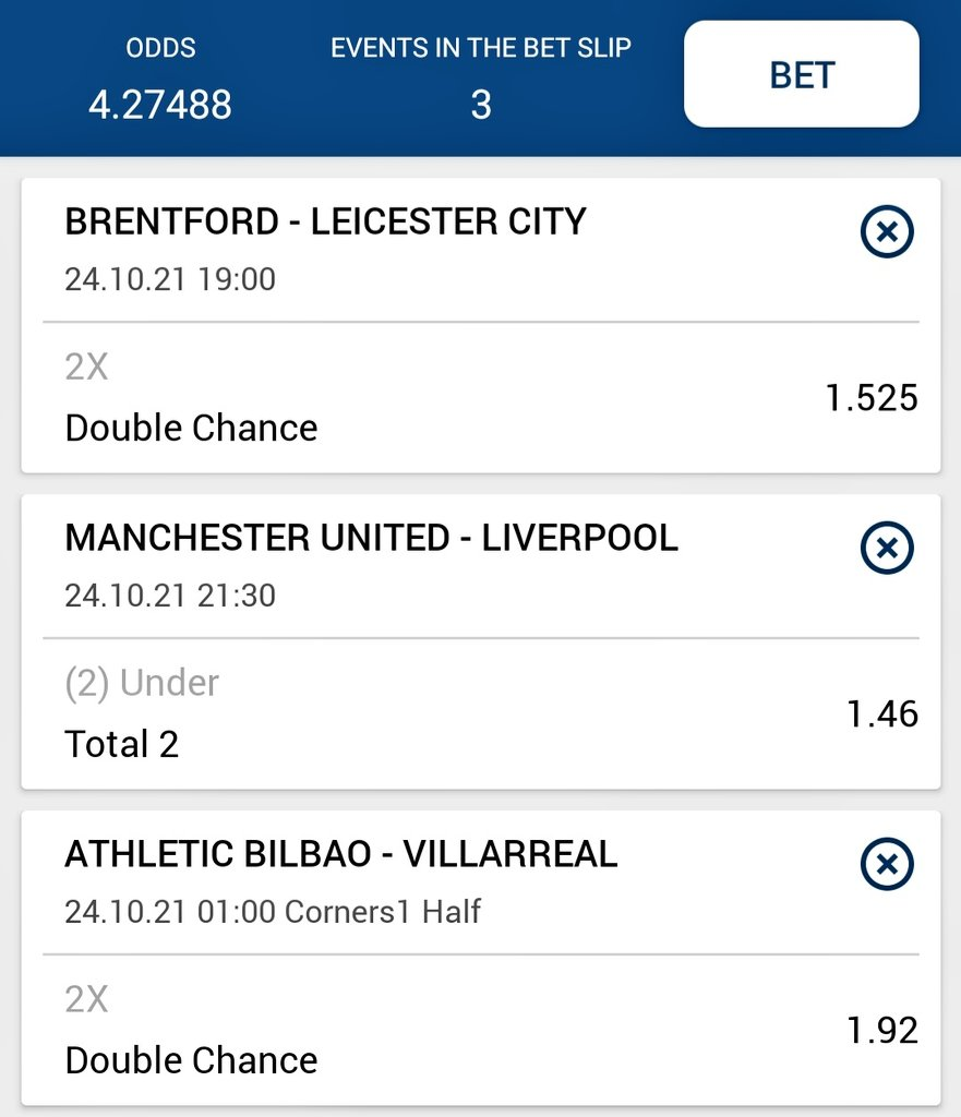 2nd one  #Brentford vs #Leicester_city   Leicester ciry or x  Liverpool total under 2  #villareal or x half time corner  Good luck!!🤞🤞