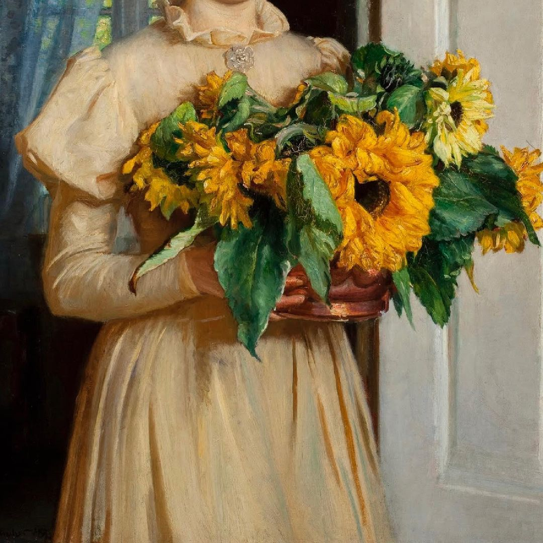 detail of girl with sunflowers by michael ancher