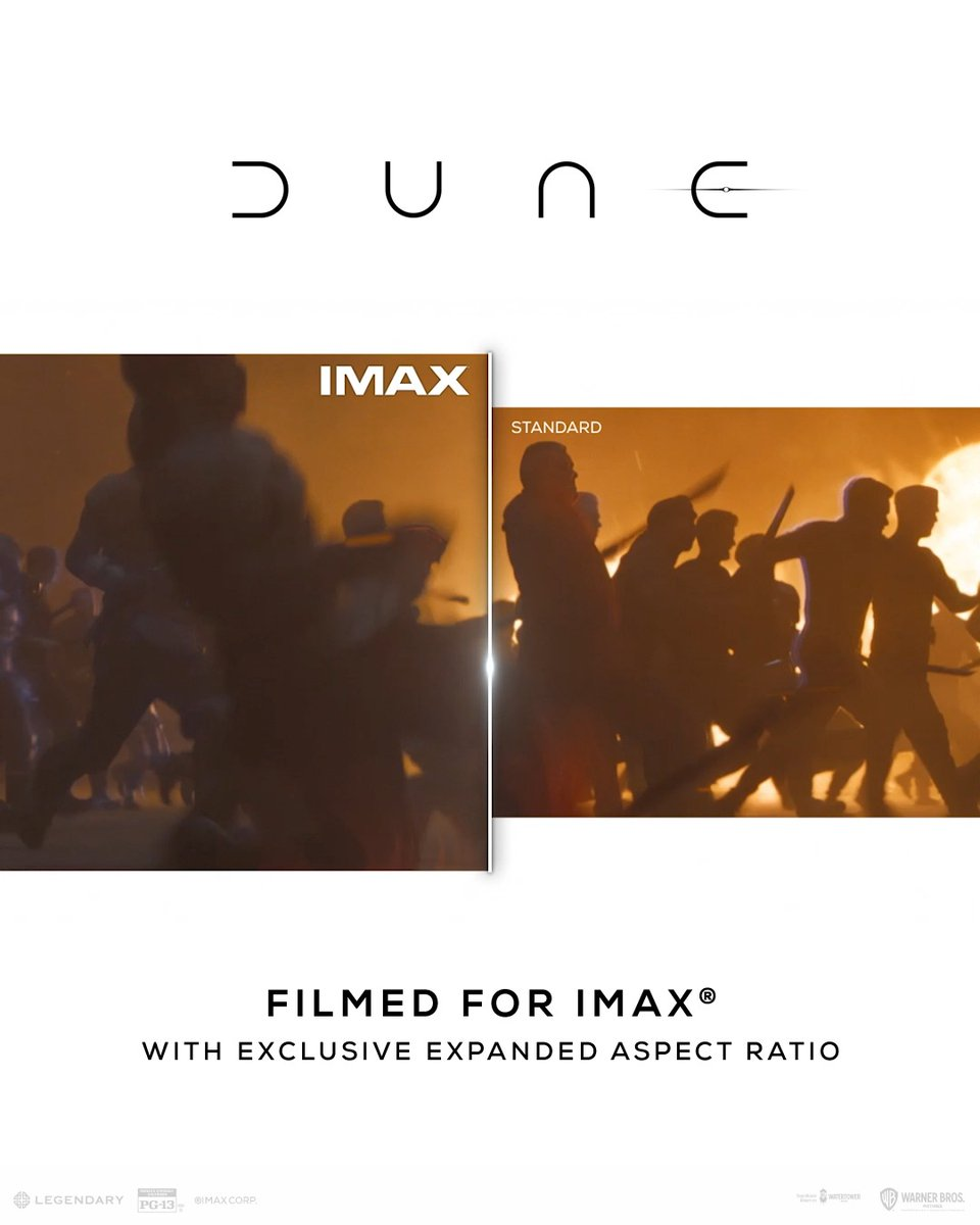 Moments like these were made for IMAX, literally. Get up to 26% more picture when you experience #DuneMovie in IMAX theatres. Filmed for IMAX, tickets are selling out fast so don't miss out! https://t.co/LAkax7IAqp https://t.co/cExz3K4XlY.