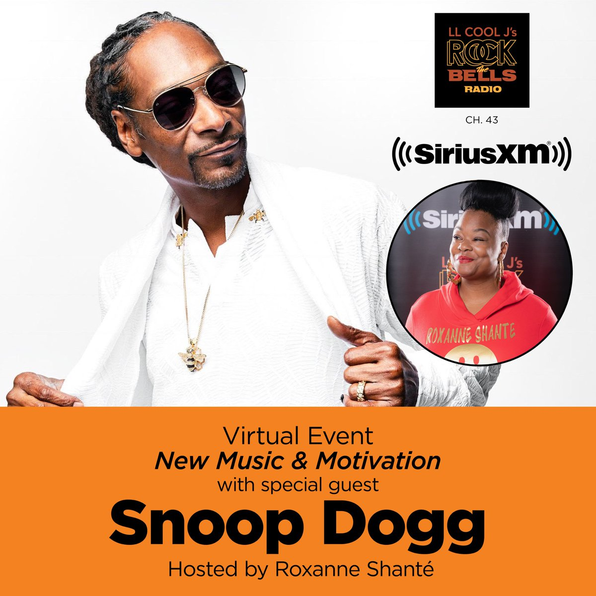 """Want to attend a VIRTUAL """"New Music & Motivation"""" with special guest @SnoopDogg hosted by @ImroxanneShante on 10/26? EMAIL rsvp@siriusxm.com, include """"Snoop Dogg"""" in the subject line, your name/email/phone by 5pm ET on 10/25. 50 eligible responders could attend."""