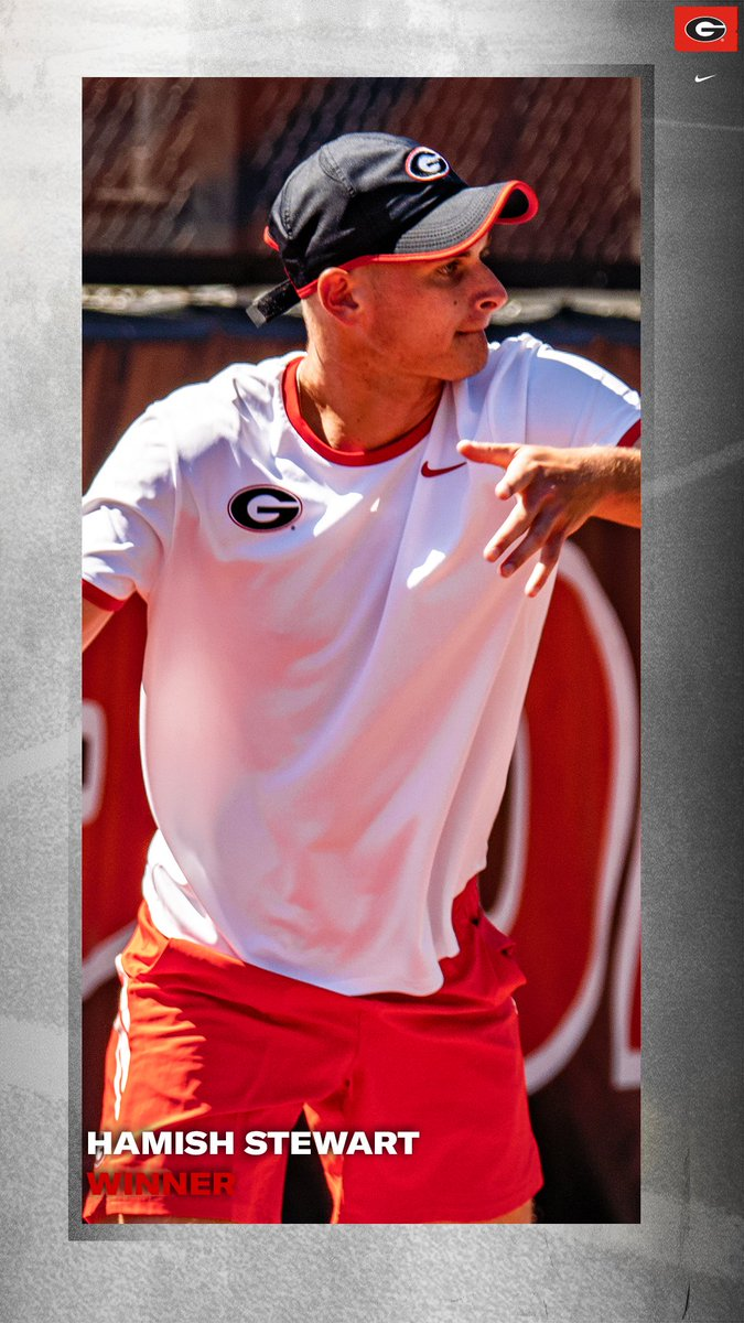 In backdraw action at the ITA Southeast Regional, our Hamish Stewart defeated UCF's Bryan Triana, 6-2, 7-5. #GoDawgs