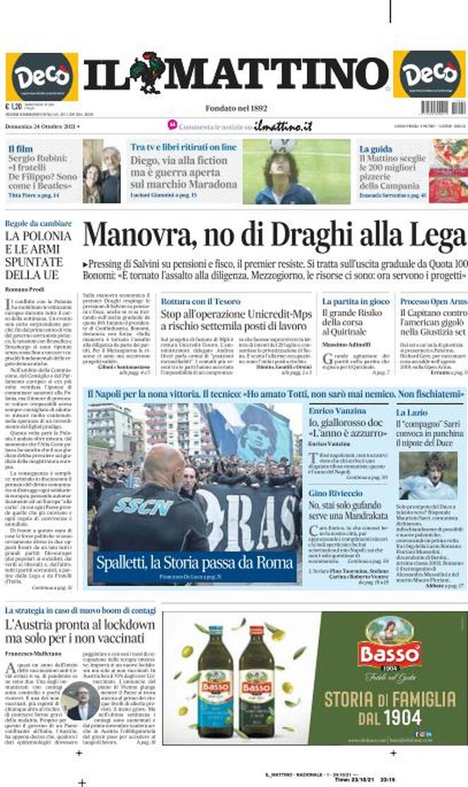 """Prima pagina Il Mattino: """"Napoli,Spalletti, la Storia passa da Roma"""""""