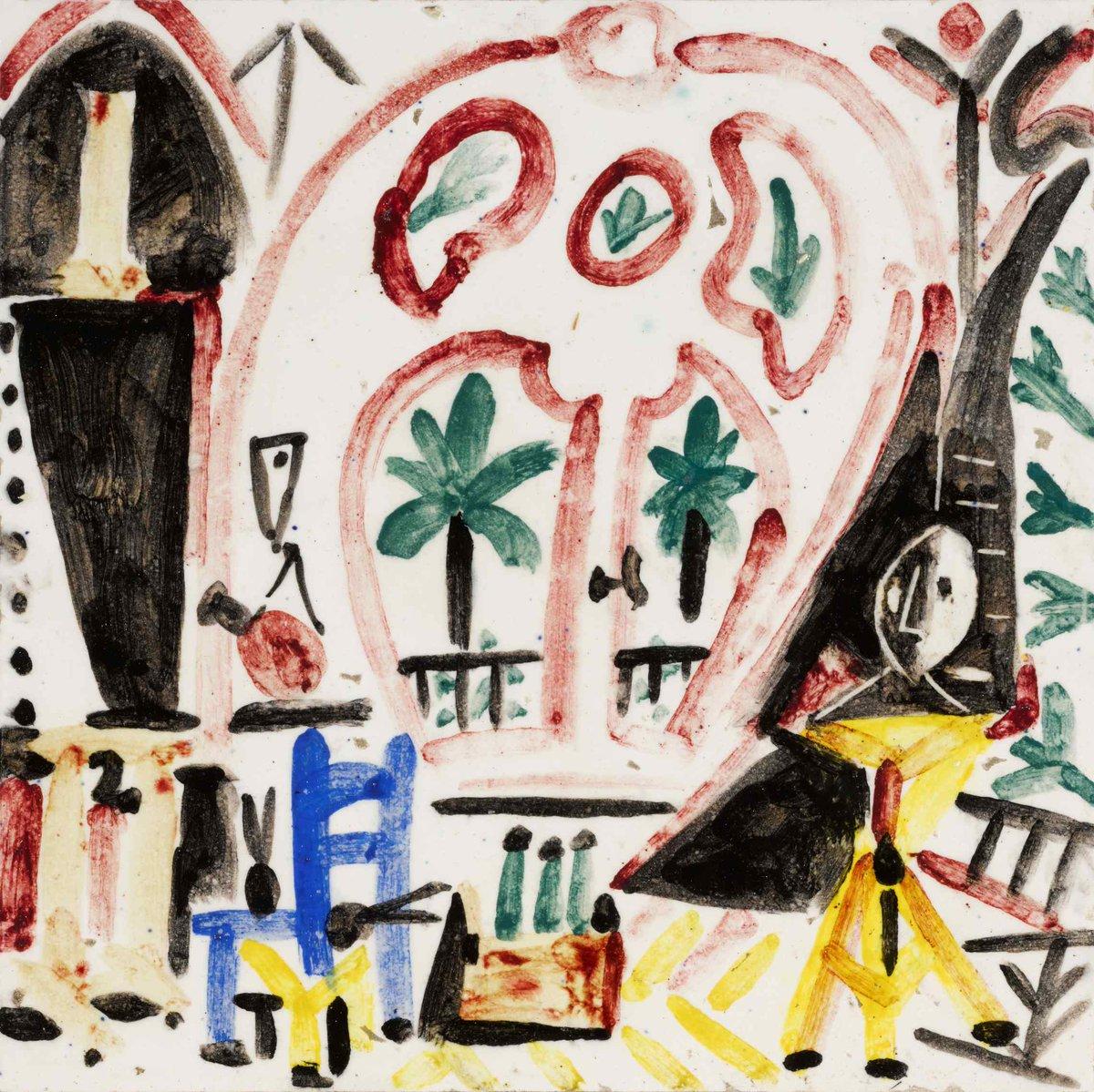 #AuctionUpdate Kicking off tonight's sale, bidders chase La Fenêtre de l'atelier La Californie, a unique ceramic title from 1956, to achieve $214,200. Picasso's La Californie residence featured Art Nouveau interiors that inspired a rich aesthetic in his work #SothebysxMGM
