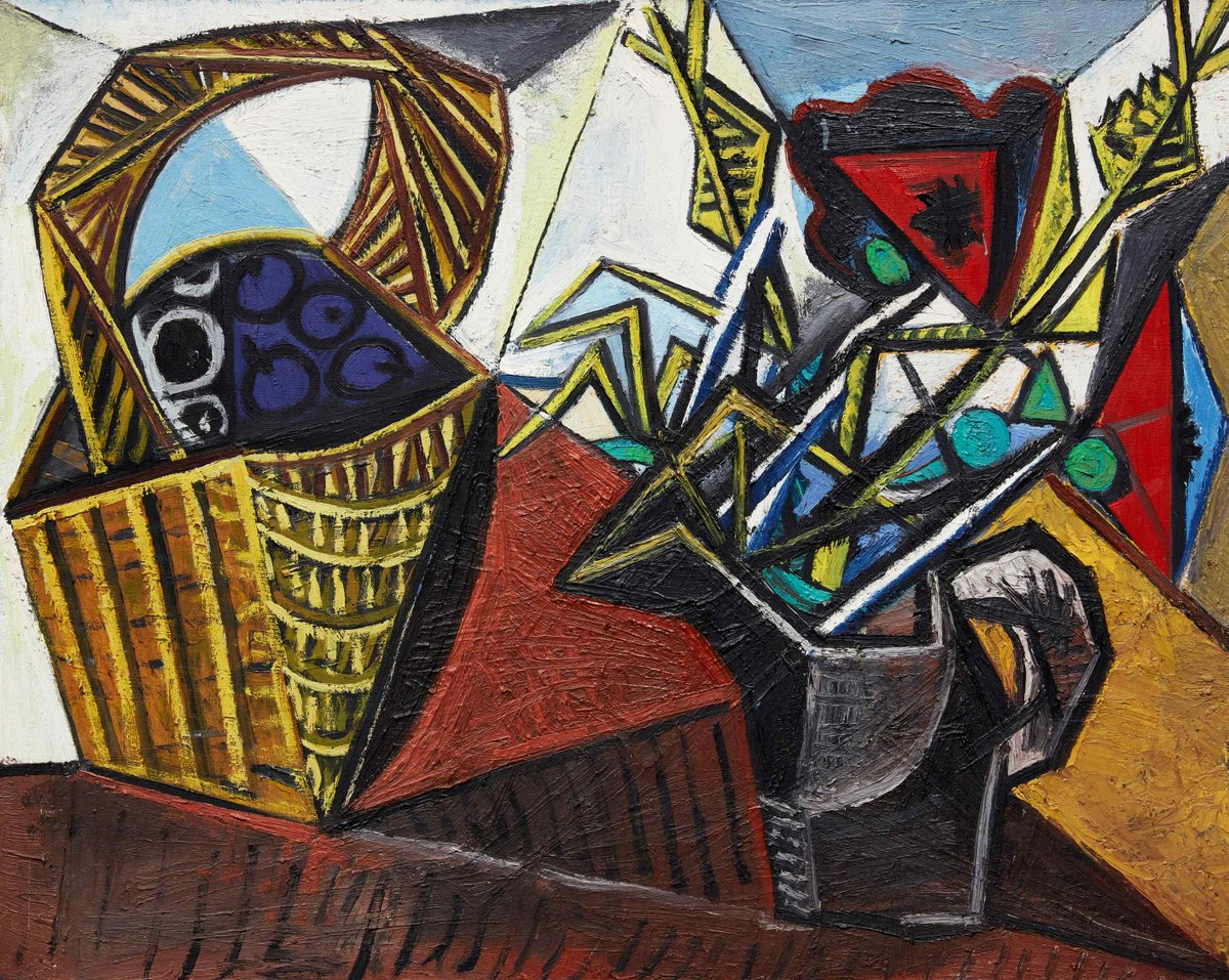 #AuctionUpdate Nature morte au panier de fruits et aux fleurs from 1942 brings $16.6 million. Despite the destruction and hardship of World War II, the years between 1940-44 resulted in one of Picasso's richest periods of still life painting #SothebysxMGM