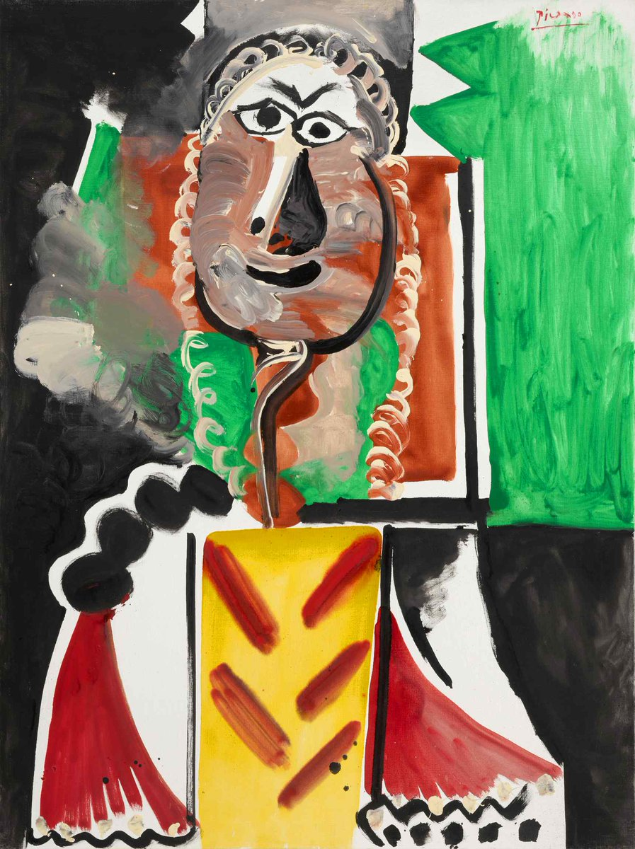 #AuctionUpdate A striking example of Picasso's mature work, Buste d'homme from 1969 sells for $9.5 million. Conceived on an impressive scale and painted with energy and invention, the work combines two of the key figures from this period—the musketeer & the matador #SothebysxMGM