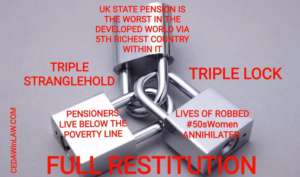 #BackTo60 #Triplelock is to protect the income of Pensioners but now it does not suit Govt it may be suspended #50sWomen believed we would retire at 60 but Govt decided to suspend 6yrs of OUR Pension without notice. We are people… Not easy targets. We need our Pensions to live.