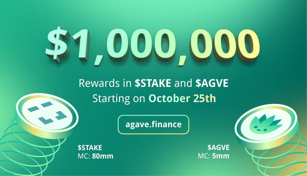 ✅ Up to $1 000 000 Rewards in $Stake + $Agve on Agave.finance live on October 25th on @xdaichain! 🔥 ➡️ Agave TG: t.me/Agave1Hive Don't miss out ❗️❗️❗️