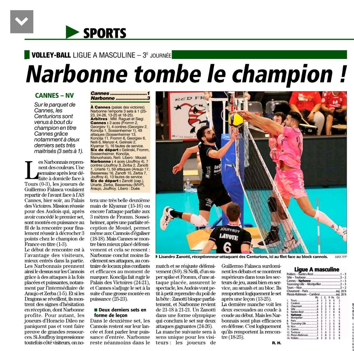 Dans cette 3ème journée du championnat de France de Volley-ball les Centurions...