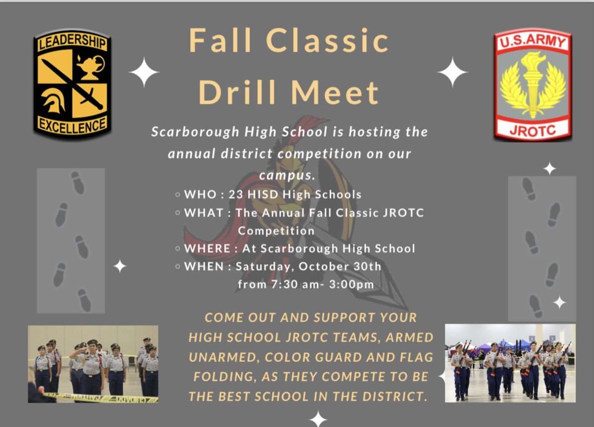 Scarborough is hosting this year's Fall Classic Drill Meet for #Houston ISD!  🗓 Sat, Oct 30th 7:30 AM - 3:00 PM   🇺🇸 We're excited to see many high school #JROTC teams compete at this event!!  @HoustonISD  @HISDHighSchools  @HISDCTE  @HISD_CPTL  @USArmy