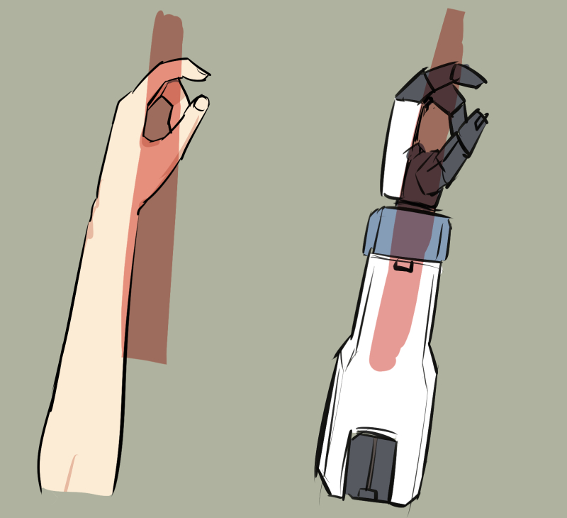 ロボにグリップ後ろの長い銃(アサルトライフルとか)持たせると干渉してしまうの、こうなってるから当たり前なんだけど、銃のデザインのほうで対応するのが本来なんだろうな…