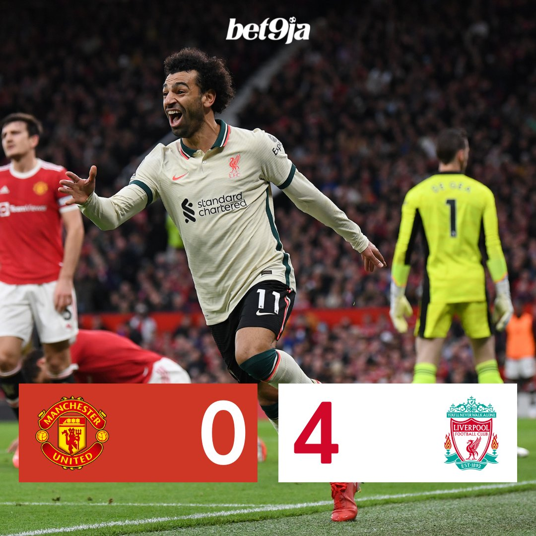 Half-time: 🔴 Man United 0-4 Liverpool ⚪️ This is incredible, Salah with 2, Keita and Jota with one each, Man United absolutely TERRIBLE!