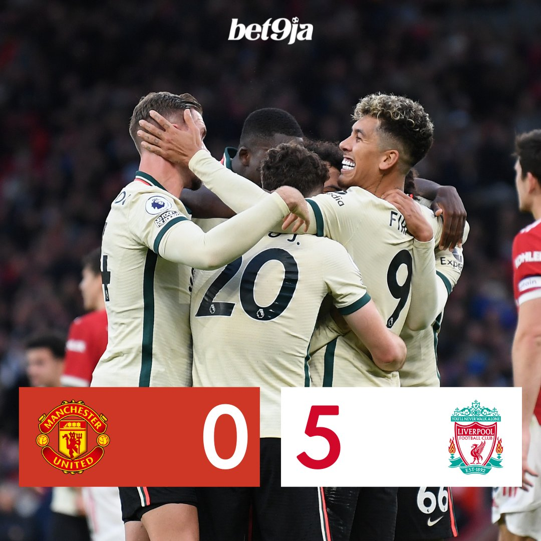 Full-time: 🔴 Man United 0-5 Liverpool ⚪ Dominant Liverpool. Utter humiliation for Man United. Salah gets a hat-trick. Pogba gets a red card! 😱