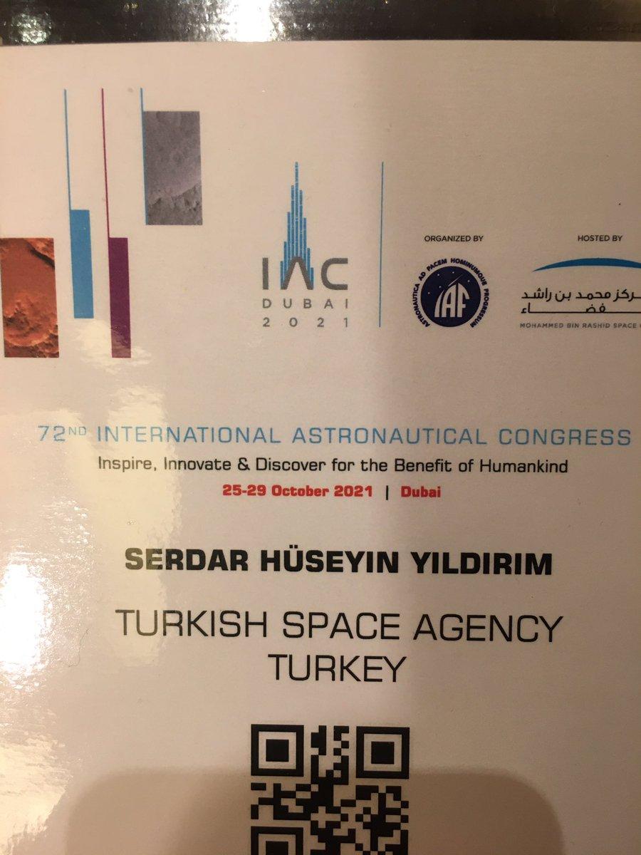 Evet IAC2021 için Dubai'deyiz. Bugün (pazar) Parlamenterler toplantısında Ankara Mv. Zeynep Yıldız'a eşlik ile sunumunu izledik. Bizim program yarın başlıyor, Türkiye ilk defa stand açarak bayrak gösteriyor. Çok yoğun bir hafta, çok şey paylaşacağız! Takipte olun!..