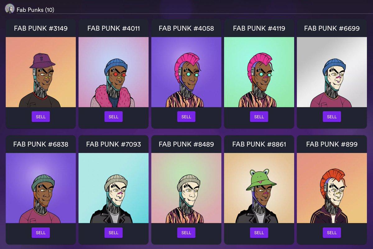 Haftayı Yasin'in videosu ile bitirdim. #NFT koleksiyonumdaki 2 Fab Punks'ın yanına 8 tane daha ekledim.  I finished the week with @yasinaktimur's  video. After watching his video, I added 8 more Fab Punks to my #nft collection.