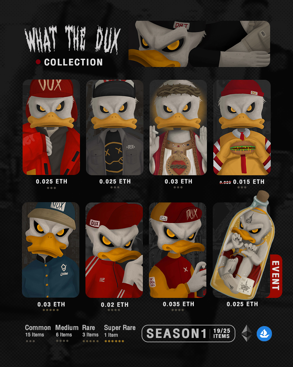 🧨New drop  What the dux collection.  Opensea : opensea.io/collection/dux  you can follow my art work at.👇🏼 Discord : discord.io/Duxy #NFTs  #NFTsCommunity #nftcollector  #opensea #NFTartist